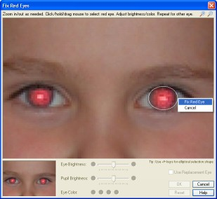 Red eye removal with S10 RedEyes: Circular or elliptical eye selection